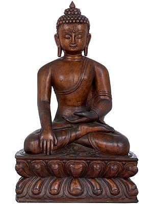 A Fine Wood Carving Of Lord Buddha From Nepal  (Tibetan Buddhist)