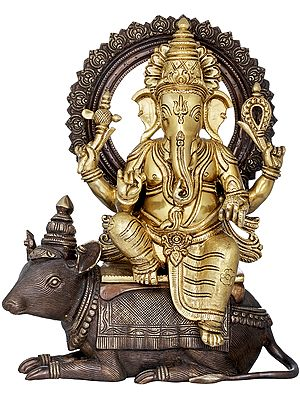 Crowned Ganesha Seated On His Mouse