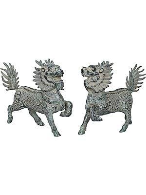 Pair of Tibetan Buddhist Temple Lions