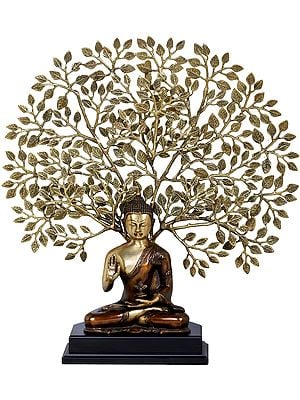 Tibetan Buddhist Seated Lord Buddha, The Elaborate Bodhi Tree in Background