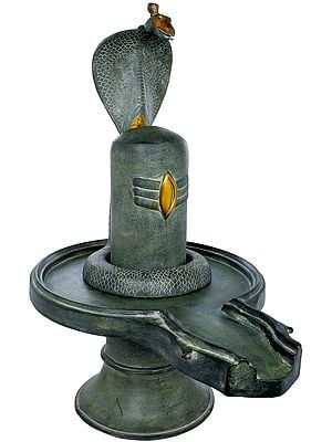 Shiva Linga with Shiva's Snake Crowning It