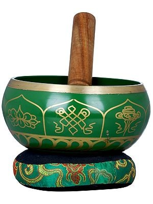 Tibetan Buddhist Ashtamangala Singing Bowl