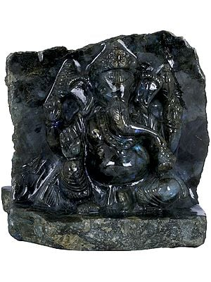 Shri Ganesha Carved on Both Sides in Labradorite Gemstone
