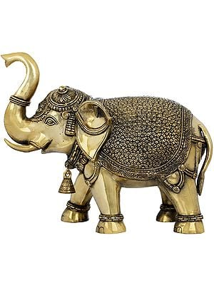 Fully Decorated Elephant With Bell and Upraised Trunk (Supremely Auspicious according to Vastu)