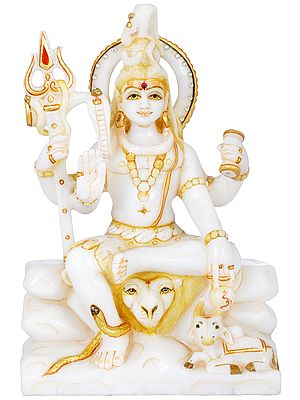 Four Armed Shiva With Nandi on Kailasha