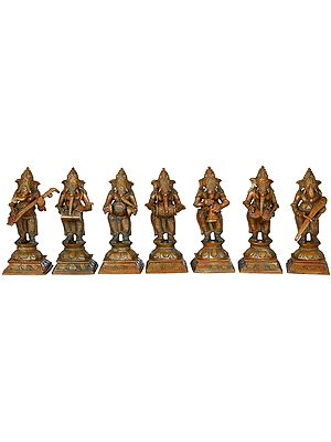 Set of Seven Musical Ganeshas