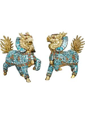 Tibetan Buddhist Pair of Temple Snow Lions