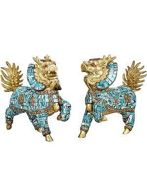 Tibetan Buddhist Pair of Temple Snow Lions