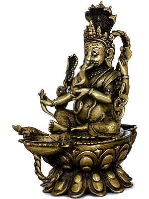 Lord Ganesha Lamp with Five-Hooded Serpent Handle and Oil Bowl Base