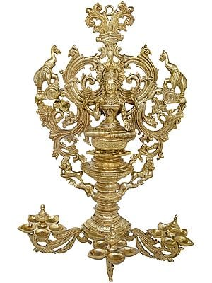 Ornate Mother Lakshmi Wall-Hanging Lamp