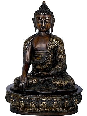 Lord Buddha Seated On Lotus Seat Wearing an Extensively Carved Robe - Tibetan Buddhist