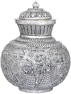 Fine Quality Kalasha Engraved With Royal Procession