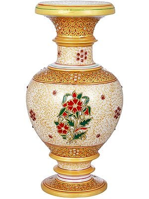 Fine Quality Marble Vase Decorated With Flower Motifs