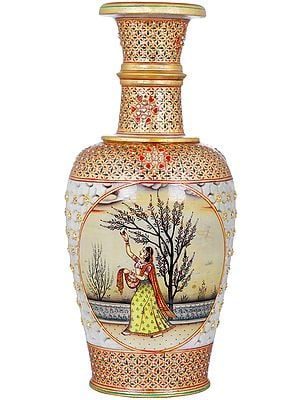 Vase Decorated With Paintings and Lattice Work