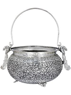 Superfine Peacock Puja Pot With Impressive Engraving