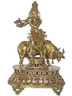 Superfine Murli Krishna With Cow on High Pedestal