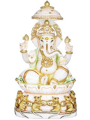 Lord Ganesha Seated on Lotus Chowki with Parasol, Base Decorated with Musician Mouses
