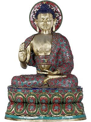 Large Inlay Preaching Buddha - Tibetan Buddhist