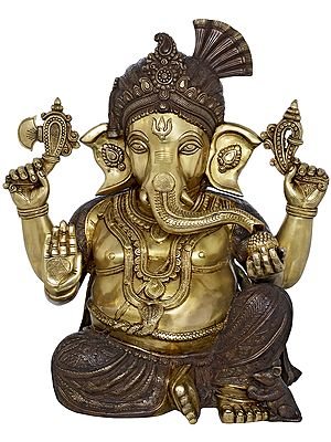 Ganesha Wearing Royal Crown and Turban