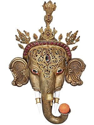 Superfine Trinetra Crowned  Ganesha Wall Hanging Mask - Made in Nepal