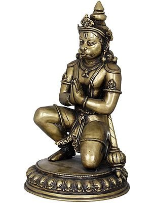 Finely Carved Humble Hanuman - Made in Nepal