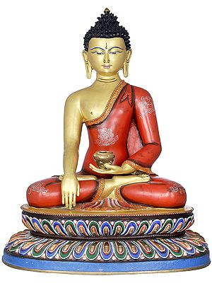 Superfine Lord Buddha Seated on Double Lotus - Made in Nepal Tibetan Buddhist Deity