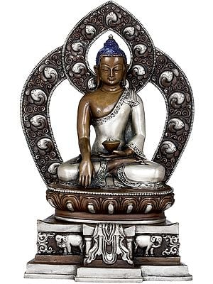 (Made in Nepal) Shakyamuni Buddha Seated on Elephant Throne