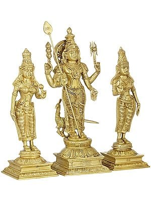 Karttikeya (Murugan) With Devasena And Valli