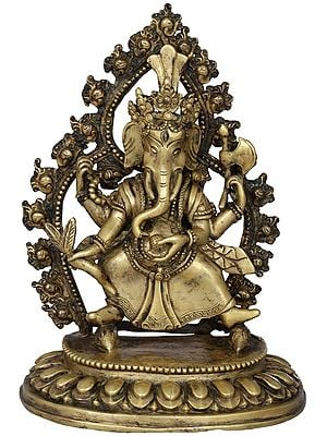 Ganesha in Nepalese Style, Holding a Carrot - Made in Nepal