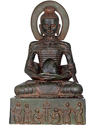 Emaciated Buddha Assuming The Uddiyana Bandha, On Homage Pedestal