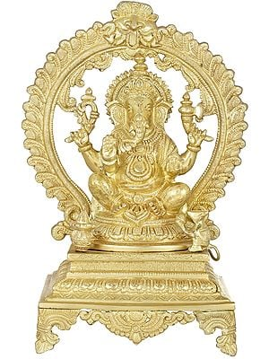Seated Ganesha Seated on Prabhawali Throne
