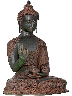Seated Lord Buddha, His Robe is Fully Carved With Symbols and Figures (Tibetan Buddhist)