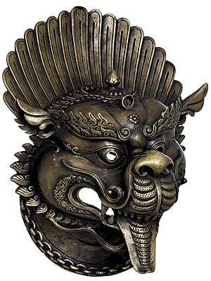 Tibetan Buddhist Deity Yamantaka Wall Hanging Mask - Made in Nepal