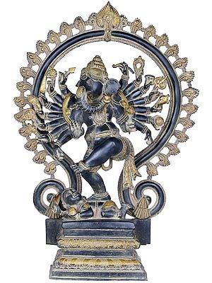 Sixteen Armed Dancing Ganesha Represented as Nataraja