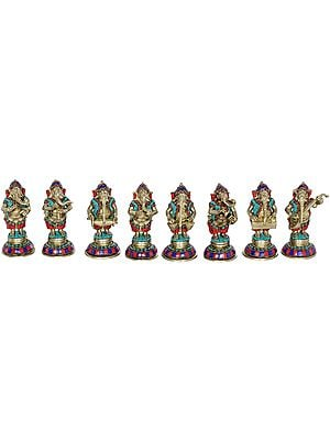 Set of Eight Musical Ganeshas