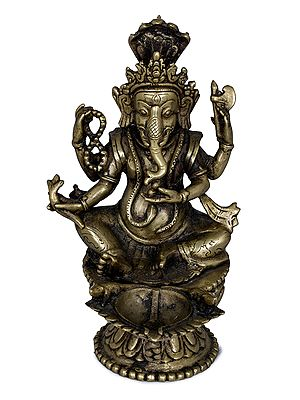 Lord Ganesha Lamp with Five-Hooded Serpent Handle and Oil Bowl Lotus Base