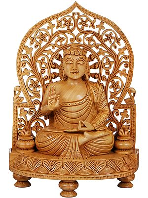 Lord Buddha Carved in Wood - Tibetan Buddhist