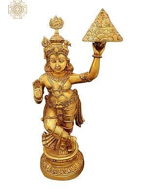 Shri Krishna Lifting the Govardhana  Mountain  - Large Size