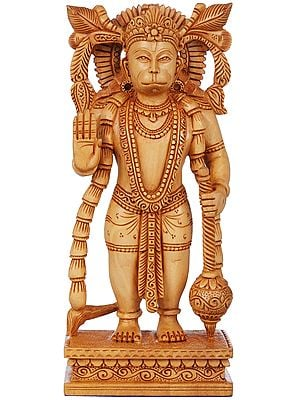 Shri Hanuman Wearing a Long Garland