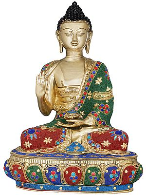 Tibetan Buddhist Lord Buddha Decorated with Inlay Pearls