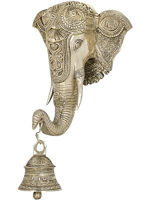Embellished Mask of Shri Ganesha with Bell- Wall Hanging