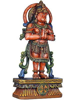 Namaskaram Hanuman, His Tail Swishing In A Circle Behind His Head