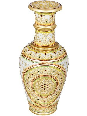 Finely Decorated White Marble Flower Vase