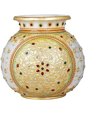 Tea Light Lamp Marble Pot with Cut Work