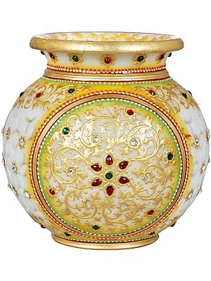 Marble Pot with Cut Work