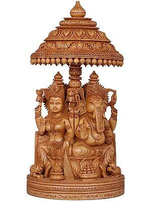 Superfine Lakshmi Ganesha on Lotus Throne with Parasol