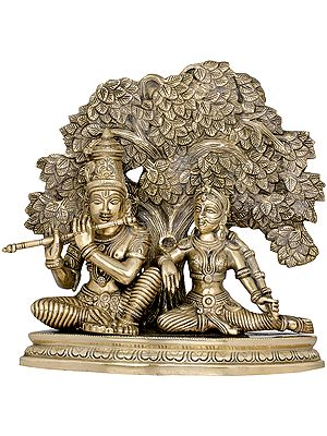 Krishna Playing flute for Radha