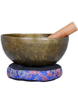 Tibetan Buddhist Singing Bowl with Image of Buddha Inside