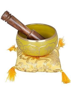 Tibetan Buddhist Singing Bowl with Auspicious Symbols