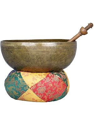 Large Singing Bowl with Image of Buddha in Dharmachakra Mudra - Tibetan Buddhist
